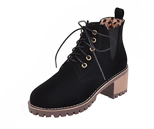 Puntera Redonda Botas Cerrada Grueso Negro Tacón Cordones Shoes Mini Mujeres AgeeMi wqBRUIfU