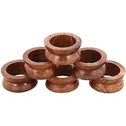 Shalinindia Handmade Wood Napkin Ring Set, Set of 6