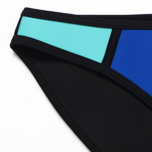 Trangel Women Color Conjoin Neoprene Bikini Set Swimwear Swimsuit,Aquamarine-White-Blue,L(US6-8)