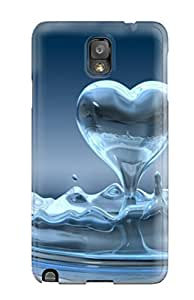 Defender Case For Galaxy Note 3, Heart From Splash Waters Pattern