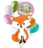 7 pc Woodland Fox It's a Baby Girl Animals Balloon Bouquet Party Decoration Pink