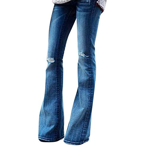 (Clearance!Womens Classic Flare Pants Mid Waist Stretch Slim Fit Wide Leg Hole Denim Jeans Bell Bottoms Pants S-2XL (Blue, Medium))