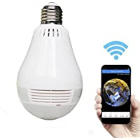 AX Security Camera Wireless IP light bulb Hidden video camera with 360 Degree Fisheye Lens Panoramic for Home Surveillance, Motion Detection and Two Way Talking for iPhone/Android Phone/iPad