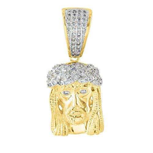 Jesus Pendant 14K Gold Finish Simulated Diamond Christ Christian God Elegant by Diamond & Co
