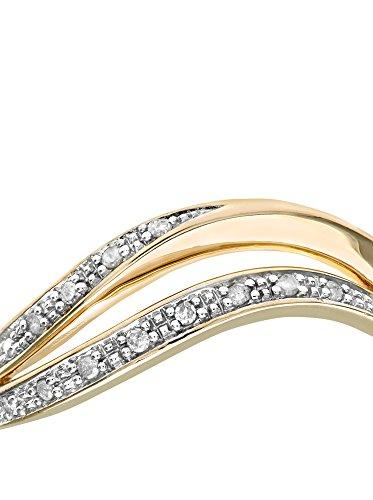 Revoni - Bague Éternité en or jaune 9 carats et diamants, motif onde