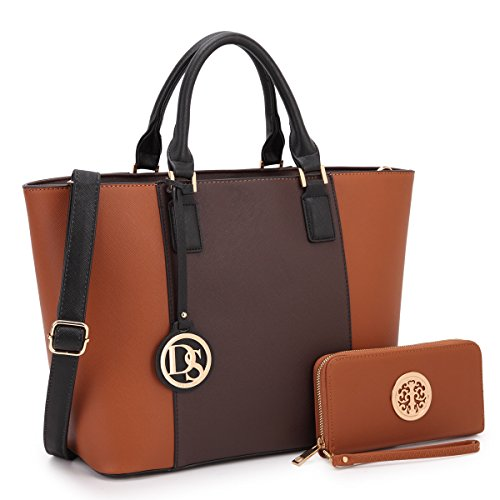 Dasein Women's Designer Large Laptop Top Handle Structured Tote Bag Satchel Handbag Shoulder Bag Purse (6417 Coffee/Brown)