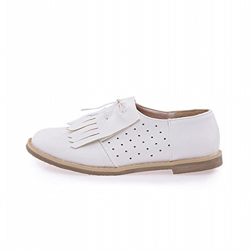Carol Shoes Womens Cute Tassels Lace-up Fashion Casual Comfort Sweet Flats Oxfords Shoes White cYLXCitt