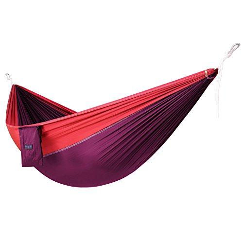Light La Paz 1 - Yes4All Single Lightweight Camping Hammock with Carry Bag – Nylon Parachute Hammock/Lightweight Portable Hammock for Camping, Hiking (Purple/Red)