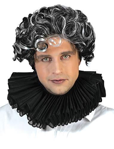 Black Clown Elizabethan Neck Ruffle Baroque Ruff Collar Costume -