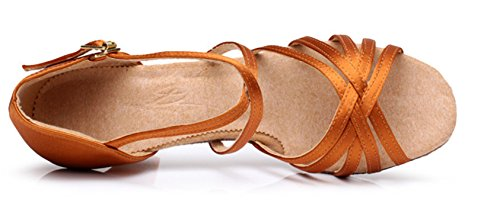 Adulta de Salsa Tacon Mujer Latino 5 A de Medio Salón Estándar Zapatos Zapatos Marrón de YOGLY 5cm de Zapatos tacón Baile de Tango Baile Danza xwqOn40p