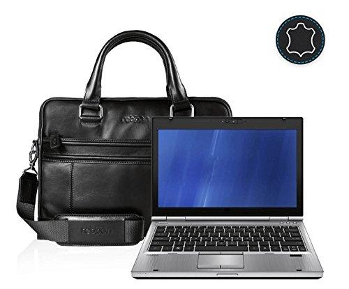 reboon Echt-Leder Laptop-Tasche in Schwarz Leder für HP EliteBook Refurbished 12 5   13 Zoll   Notebooktasche Umhängetasche   Damen/Herren - Unisex   Premium Qualität Schwarz Leder Ek4AFUZ