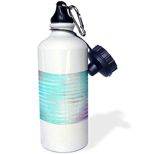 Brushstroke Stripe - 3dRose Anne Marie Baugh - Patterns - Modern Faux Silver Brush Stroke Stripes on Aqua and Purple - 21 oz Sports Water Bottle (wb_283343_1)