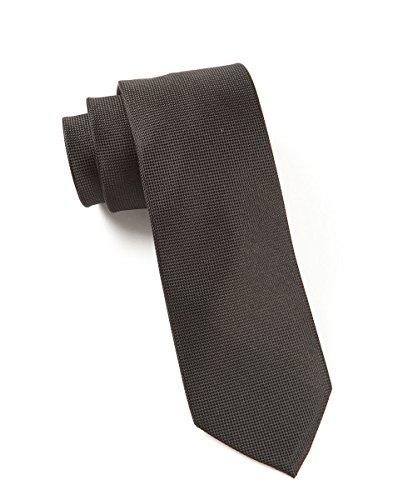 The Tie Bar 100% Woven Silk Black Solid Textured 3 Inch Tie