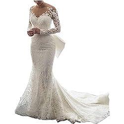 Ainisha Women's Elegant Long Sleeves Mermaid Wedding Dress Ball Gown Wedding Gown Lace Detachable Train Bridal Gown
