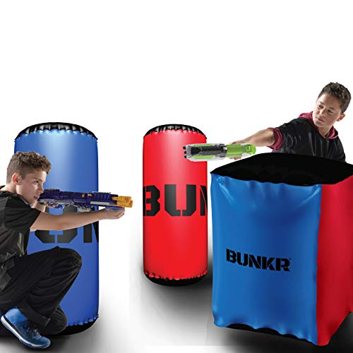 BUNKR BKR-3243 Inflatable Battle Zone Elite Starter Set (3 Piece), (Compatible with Nerf, Laser X, X-Shot and Boomco), Red/Blue