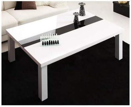 ラスターホワイト こたつテーブル 長方形(75×105cm)のみ 鏡面仕上げアーバンモダンデザインこたつ VASPACE ヴァスパスシリーズより【ノーブランド品】