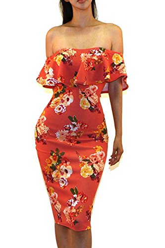 (Vivicastle Women's Off Shoulder Ruffle Bodycon Fitted Midi Dress (Large, G91, Coral))