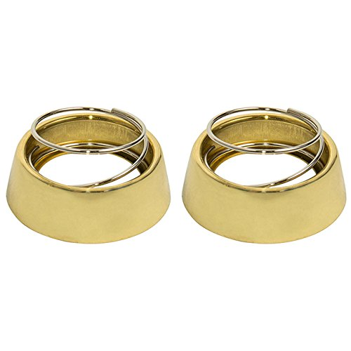 Tuff Stuff 5122COLLAR Polished Brass Pair of Cylinder Collars With Spring For Marks Mortise 22AC Cylinders Iron Gate Door Lock