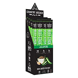 Jalapeno Beef Sticks by Country Archer, 100% Grass-Fed, Certified Keto, Paleo, Gluten Free, 24 Count