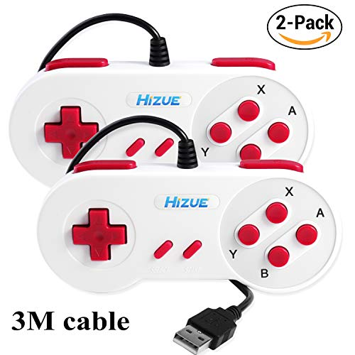 Hizue Compatible USB SNES Controller Gamepads Joystick (2 Pack,10ft/3m),Super Classic USB Controllers for PC,Android,Windows,Linux(Ubuntu)/RetroPie,Raspberry Pi (Electronics Pie Precision Interface)