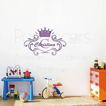 PopDecors Wall Decals U0026 Stickers   Princess Crown Personalized Name Decal    Monogram Girls Baby Name