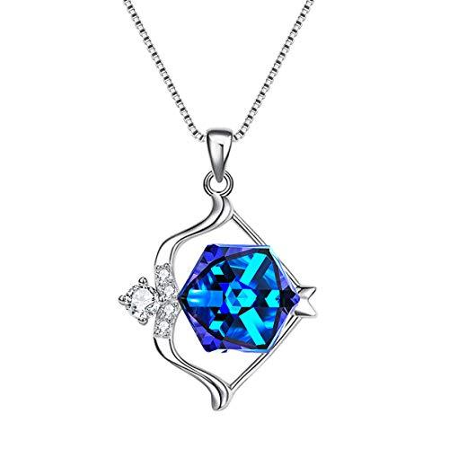 EleQueen 925 Sterling Silver CZ Swarovski Crystals Sagittarius Zodiac Constellation Sign Pendant Necklace Blue