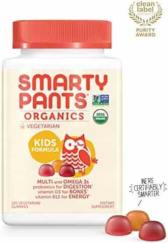 Daily Organic Gummy Kids Multivitamin: Biotin, Vitamin C, D3, E, B12, A, Omega 3, Zinc, Selenium, Niacin, Iodine, Choline, Methylfolate, Thiamine by SmartyPants (120 Count, 30 Day Supply)
