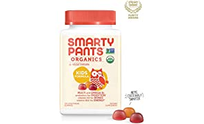 Daily Organic Gummy Kids Multivitamin: Probiotics, Biotin, Vitamin C, D3, E, B12, A, Omega 3, Zinc, Selenium, Niacin, Iodine, Choline, Methylfolate by SmartyPants (120 Count, 30 Day Supply)