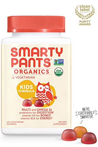 Daily Organic Gummy Kids Multivitamin: Vitamin C, D3 & Zinc for Immunity, Biotin, Probiotic, Omega 3 Fish Oil, Selenium, Vitamin B6, Methyl B12 by SmartyPants 120 Count (30 Day Supply)