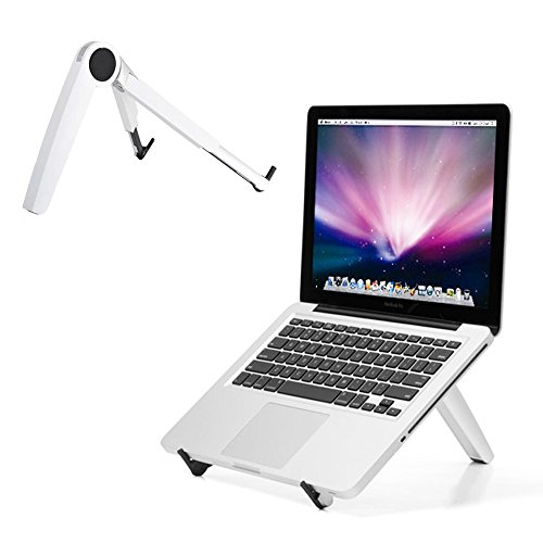 JoYo Portable Adjustable Laptop Stand - Ergonomic Aluminum Ventilated Laptop Holder for All Macbook Pro/Air, Microsoft Surface, Notebooks Up to 15-inch (White)