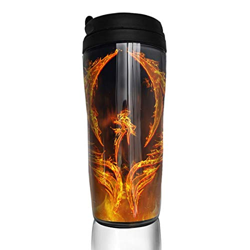Red Fire Of Phoenix Bird In Flames With Wings Rising From Fiery Furnace Abstract Mugs Tea Coffee Cups With Lid For Travel Camping Hiking Sports