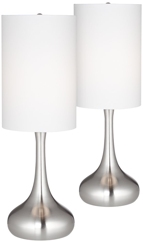 Brushed Steel Droplet Table Lamp w/Cylinder Shade Set of 2