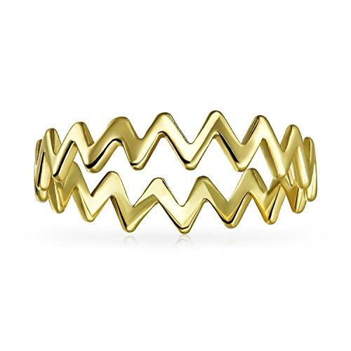 Bling Jewelry Chapado en oro y plata esterlina 925 Chevron MIDI Ring moderna