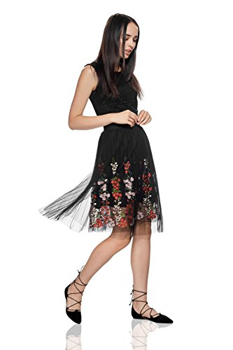 Floral Layered Skirt Knee Length Elastic Waist Flower Embroidery Mesh Overlay (One-Size, Black) - Top Layered Skirt