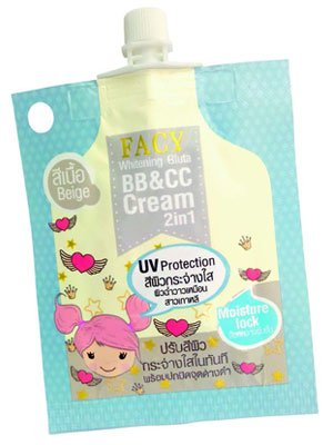 Facy Whitening Gluta BB+CC Cream 2in1 Color Texture 10g.(2 pieces per pack). (Gnc Go Lean)
