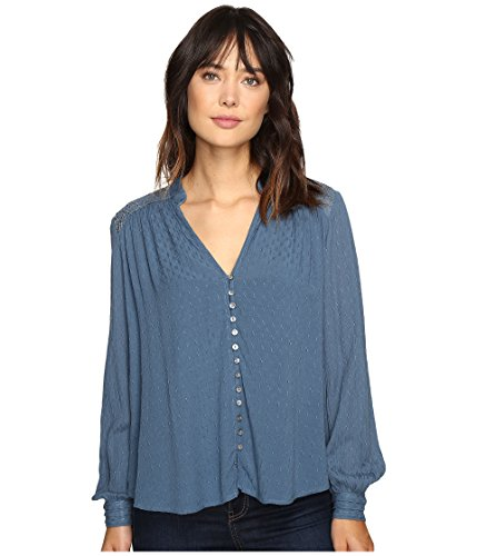 Free People Women's Canyon Rose Button Down Blue Large by Free People
