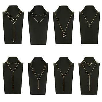 ca0f916bc675 Udekit Choker Collar de Gargantilla de Oro de Metal de Moda con Colgante  para Mujeres y Niñas (8 Piezas Conjunto)  Amazon.es  Hogar