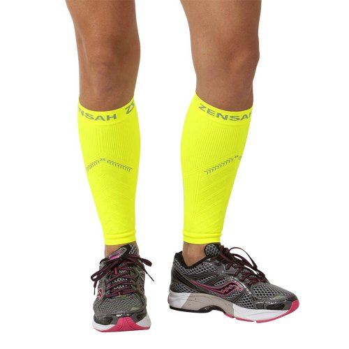 Sport Neon Night Sleeves (Zensah Reflective Compression Leg Sleeves - Best Night Running Gear - Relieve Shin Splints - Calf Sleeves for Running - Improve Visibility,S/M,Neon Yellow)