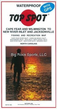 Top Spot Fishing Map from Cape Fear/Wilm to New River Inlet/Jacksonville