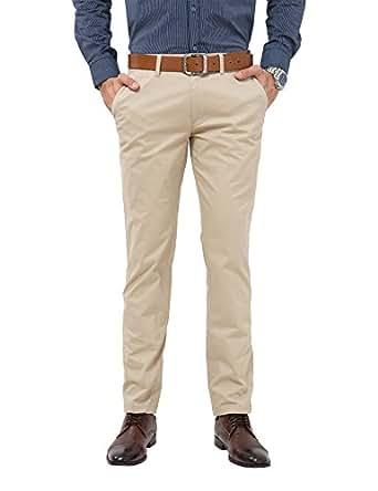 ADFOLF Men's Flat Front Slim Fit Chino Pants, Apricot, 36W x 34L