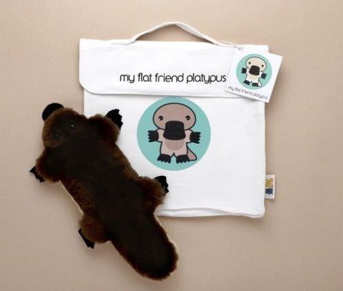 Flat Friends PLATLD Platypus Lambskin Soft Toy & Drawstring Bag