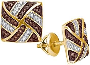 10K Yellow Gold Brandy Diamond Chocolate Brown Princess Swirl Earrings 1/4 Ctw.
