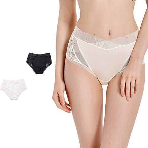 DOBREVA Women's Briefs Underwear Lace Mesh Hipster Hi Cut Panties, 2 Pack Black/White_Hi Cut L