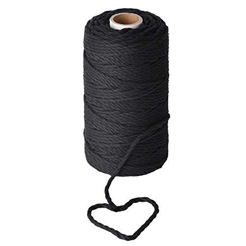 Stillness Crafts Macrame Cord 4mm Black - Best for Plant Hanger Black Macrame Wall Hanging  Macrame Supplies Black Yarn Cotton Cord Black Dye Macrame Rope