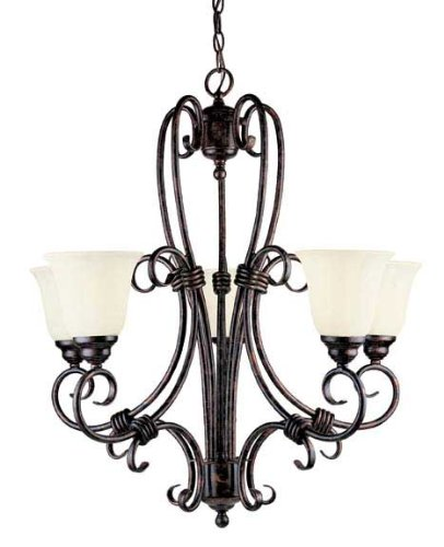 Ivory Rustic Chandelier (Savoy House GZ-1-2887-5-56 Chandelier with Cream Scavo Shades, Brown Tortoise Shell Finish)