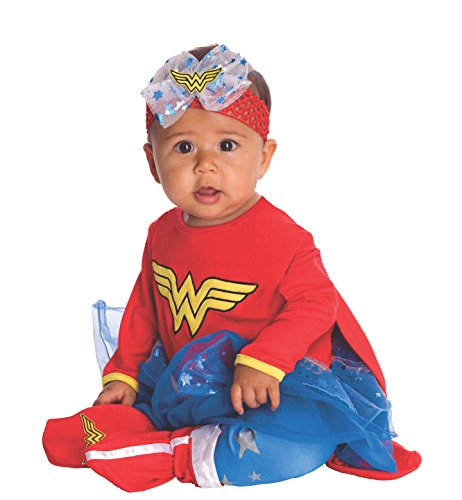 DC Comics Baby Wonder Woman Onesie And Headpiece, Red, Newborn Costume ()