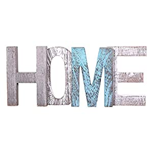 "Comfify ""HOME"" Decorative Wooden Letters – Large Wood Letters For Wall Décor in Rustic Blue, White and Grey – Rustic Home Decoration for Living Room – Rustic Home Décor Accents – Farmhouse Decor"