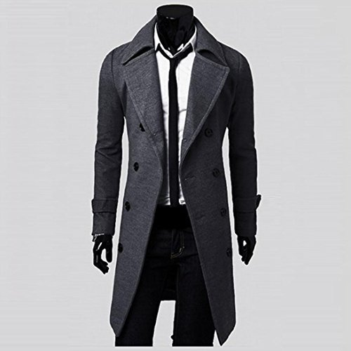 e55f104a614 New Winter Men Slim Stylish Trench Coat Double Breasted Long Jacket Parka
