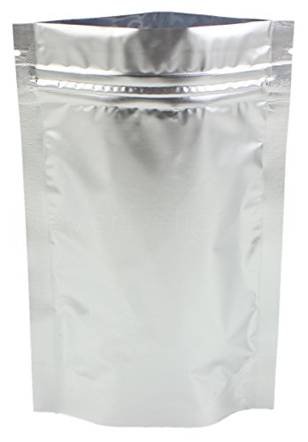 (1000 Pack - CleverDelights Silver Stand-Up Pouches - 4