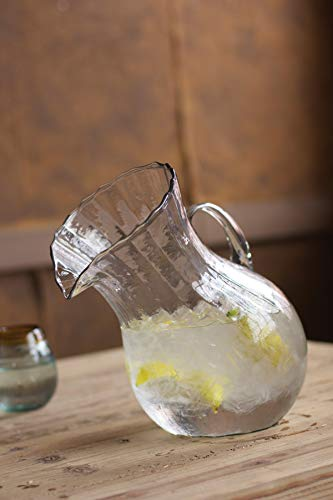 (Kalalou Ribbed Tilted Pitcher, One Size, Clear )